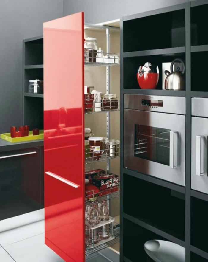 meubles-de-cuisine-laquées-pas-cher-conforama-meubles-cuisine-laquée-rouge-gris