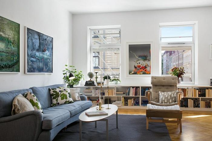 mobilier-scandinave-style-scandinave-salon-scandinave-deco-nordique-canapé-bleu-peinture-sur-mur