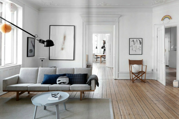 mobilier-scandinave-style-scandinave-salon-scandinave-la-deco-nordique-un-canapé-gris