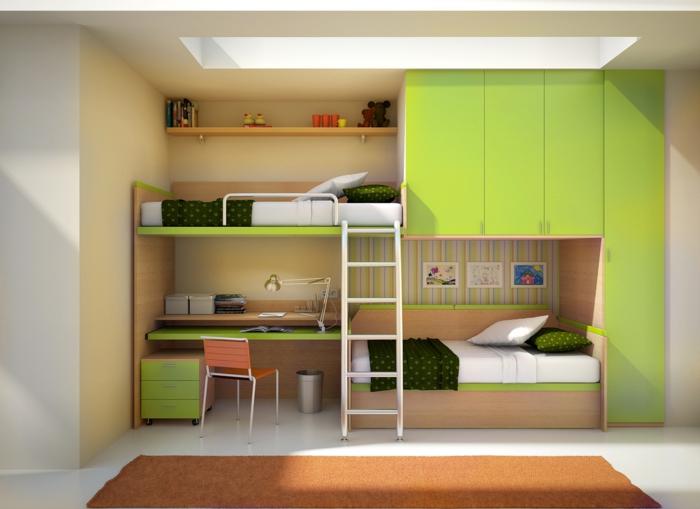 monsieur-meuble-gain-de-place-pour-la-chambre-à-coucher-enfant-avec-meubles-verts