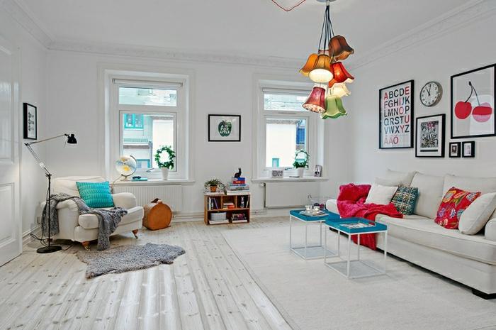 parquet-blanc-salle-de-déjour-magnifique-accents-en-couleurs