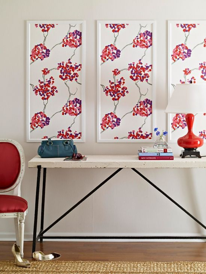 Design d 39 int rieur styl avec le tableau triptyque for Decoration murale rouge