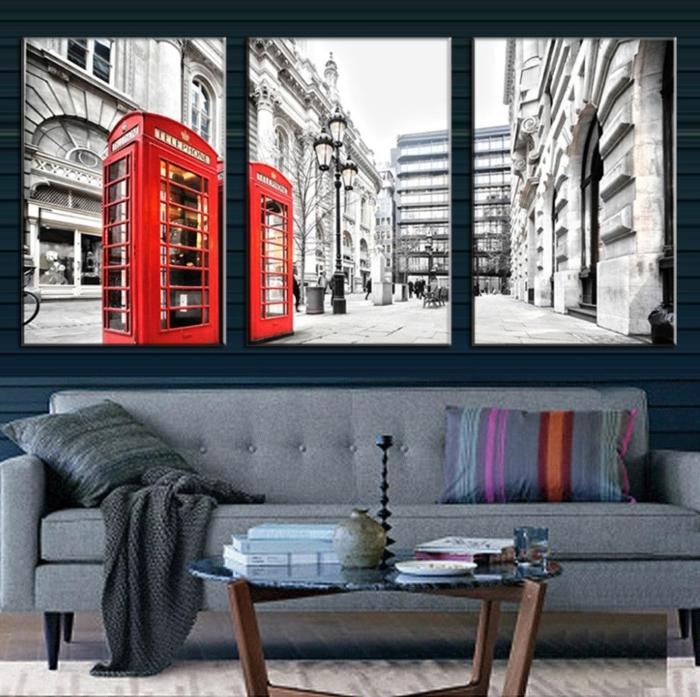 peinture-pour-le-salon-idée-originale-en-trois-panneaux-tableau-triptyque-londre-cabine-de-téléphone-rouge