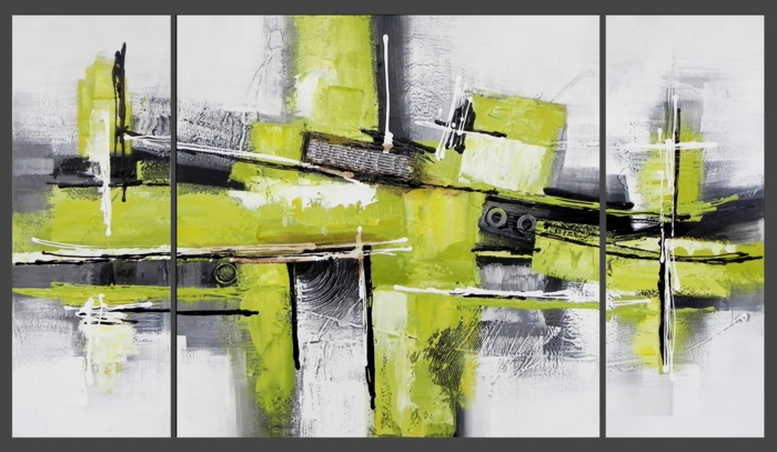 peinture-pour-le-salon-idée-originale-en-trois-panneaux-tableau-triptyque-vert-moderniste