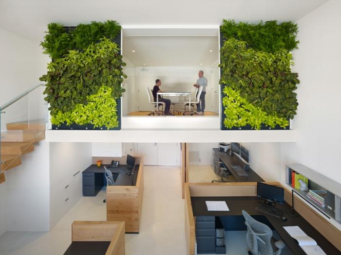 plantes-vertes-d-intérieur-déco-office-bien-aménagé-déco-mur