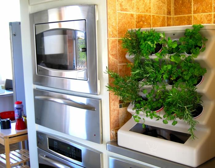 plantes-vertes-d-intérieur-idée-déco-cuisine-aménagement-herbe-verte-dans-pot