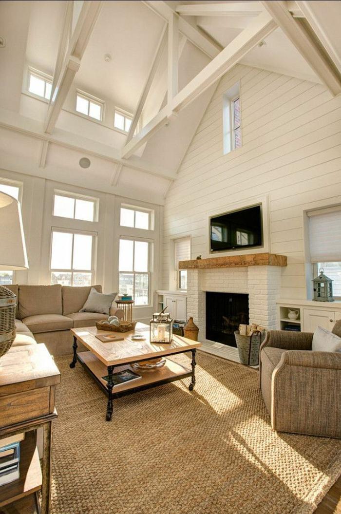 pour-votre-salon-un-tapis-beige-style-jonc-de-mer-original-idée-table-basse-bois-massif