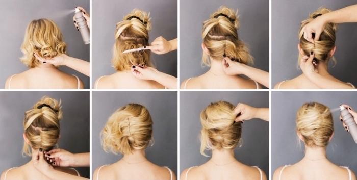 tutoriel pour cheveux mi longs, exemple comment réaliser un chignon banane, exemple comment s attacher les cheveux