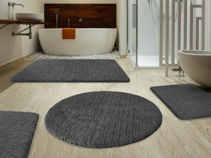 tapis rond pour salle de bain. Black Bedroom Furniture Sets. Home Design Ideas