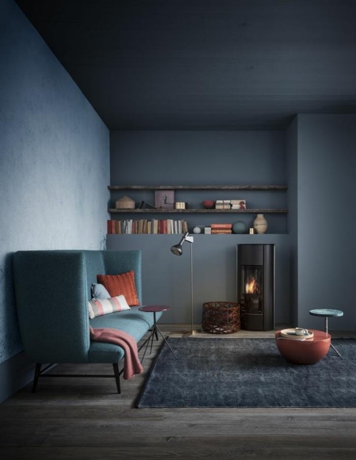 quelle-peinture-murale-poser-dans-le-salon-avec-meubles-gris-et-peinture-satiné