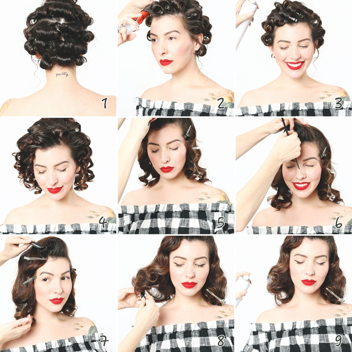 diy coiffure facile et rapide, pas à pas pour faire des boucles rétro, tutoriel cheveux lâchés en ondulations rétro