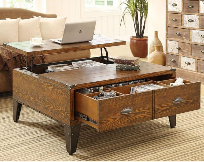 Table relevable style industriel - Table basse relevable design ...