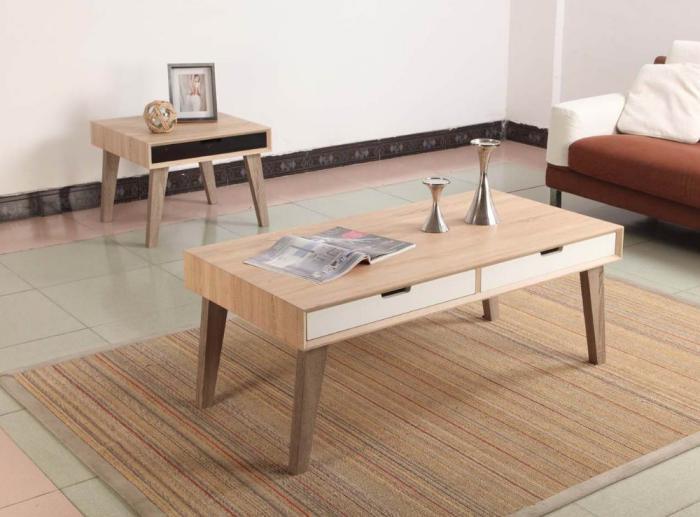 La table basse avec tiroir un meuble pratique et d co - Meuble avec table escamotable ...