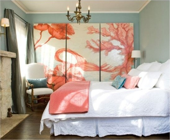 tableau-3-panneaux-peinture-pour-le-salon-deco-murale-jolie-peche-couleur-et-blanc
