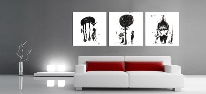 tableau-composé-d'un-triple-panneau-peinture-triptyque-blanc-et-noir