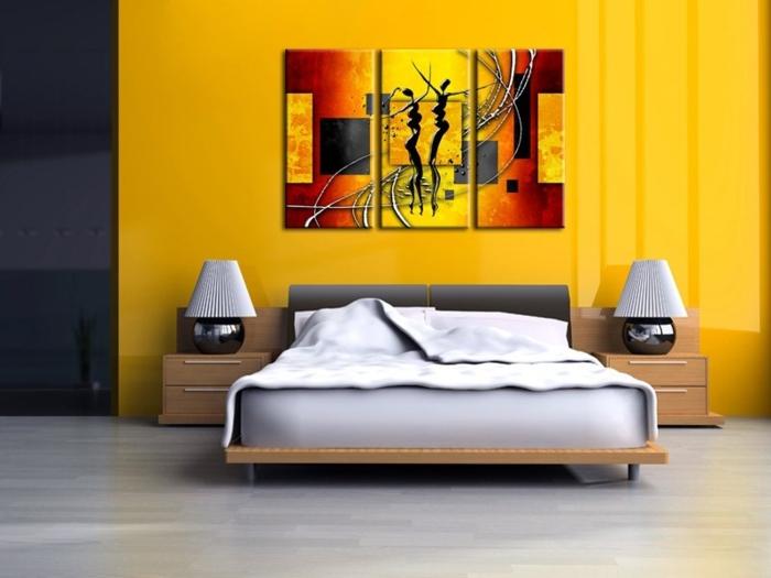 tableau-composé-d'un-triple-panneau-peinture-triptyque -table-de-chevet-lampes-chambre-à-coucher-lit-tableau-triptique