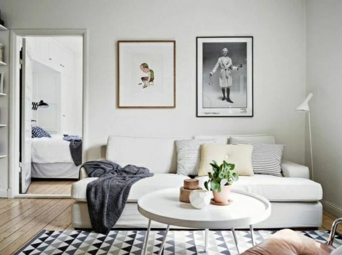 tapis-blanc-noir-deco-nordique-avec-meuble-suedois-et-tapis-scandinave ...