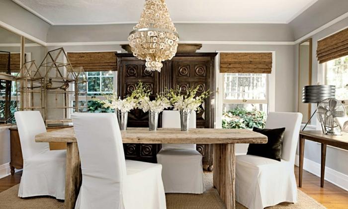 tapis-jonc-de-mer-aménagement-salle-de-séjour-idées-créatives-chaises-table-à-manger