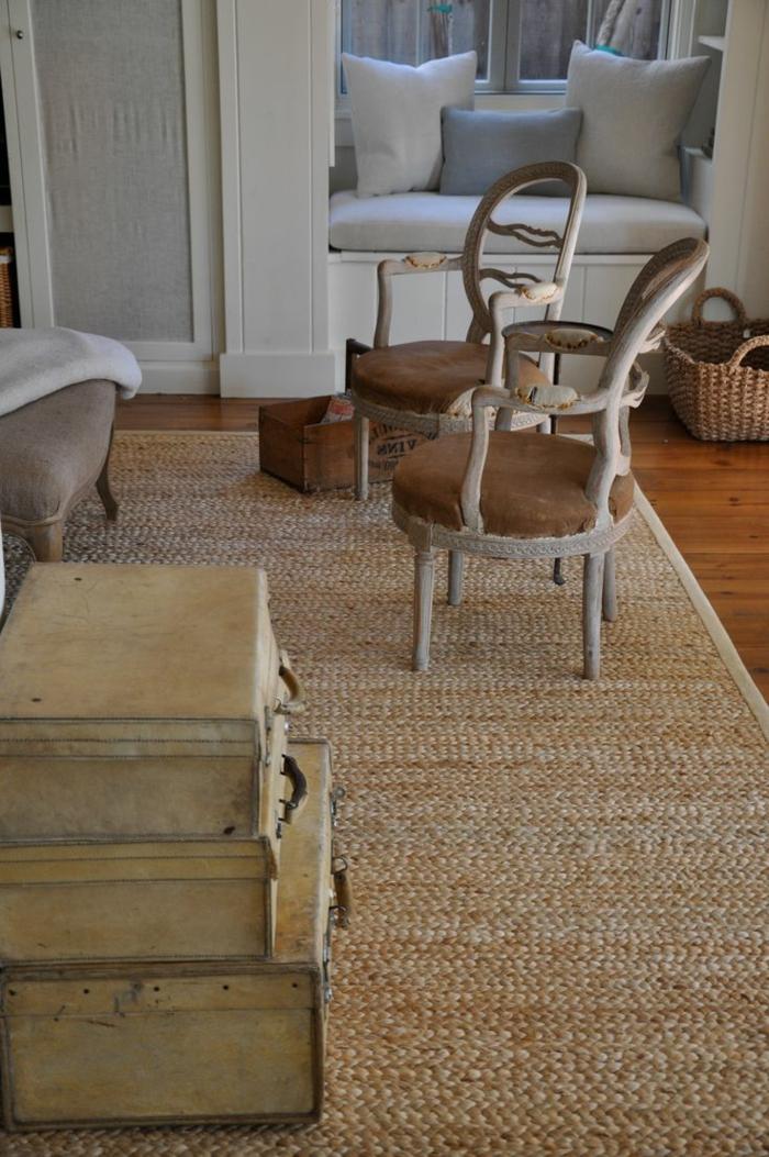 tapis-jonc-de-mer-comment-aménager-son-salon-vintage-originale-salle-de-séjour-rétro-idées-créatives