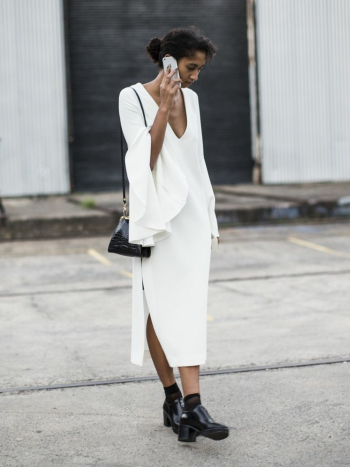 tenue-chic-automne-2015-robes-droite-fluide-blanc-et-noir-moderne