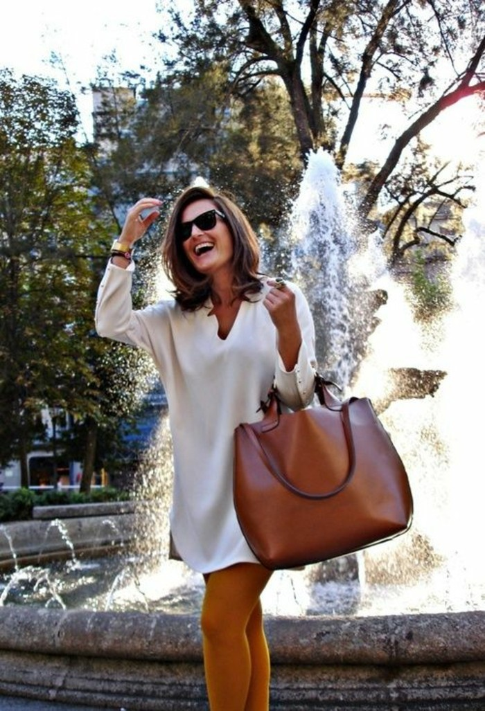 tenue-chic-automne-2015-robes-droite-fluide-sac-a-main-cuir