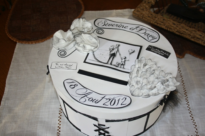 tirelire-pas-cher-urne-mariage-valise-idée-déco-cartes-mariage-boite-blanc-ronde