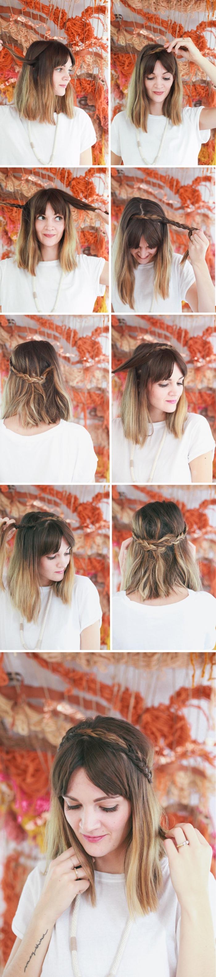 quelle coiffure facile a faire seule pour cheveux mi longs, pas à pas coiffure cheveux lâchés avec couronne tressée, tuto coiffure cheveux mi long facile et rapide