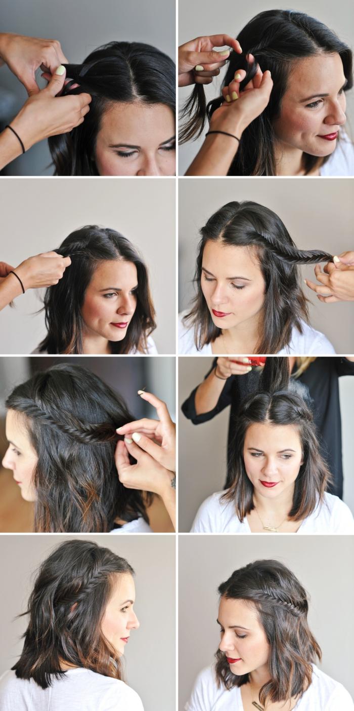 comment bien se coiffer, pas à pas coiffure cheveux lâchés avec couronne en tresse épi, diy coiffure mariage, tuto coiffure cheveux mi long
