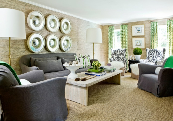 un-tapis-sisal-ou-jonc-de-mer-tapis-idée-comment-aménager-son-salon-rétro-style