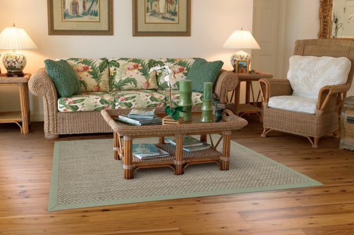 un-tapis-sisal-ou-jonc-de-mer-tapis-idée-comment-aménager-son-salon-vert