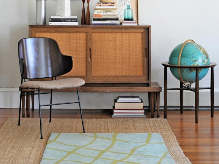 un-tapis-sisal-ou-jonc-de-mer-tapis-idée-comment-aménager-son-salon-vintage