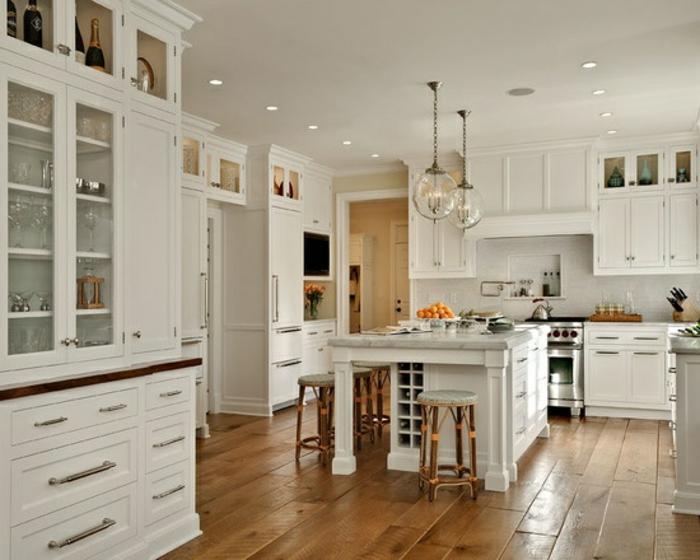 53 variantes pour les cuisines blanches - Cuisine moderne bois clair ...