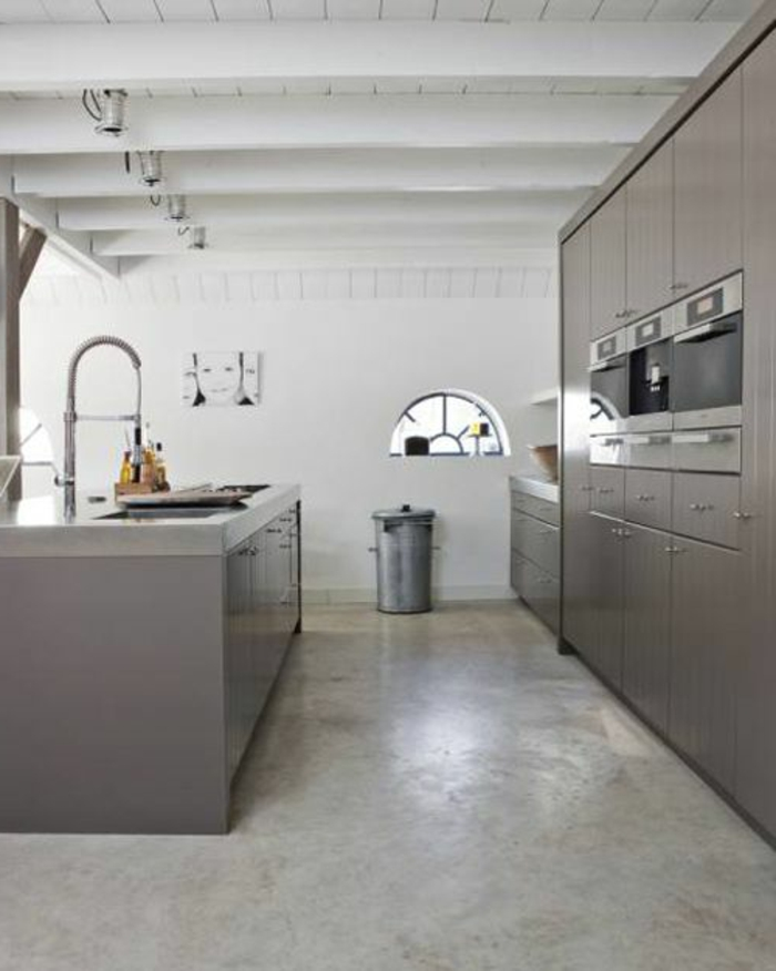 une-jolie-cuisine-grise-avec-sol-en-béton-ciré-gris-et-plafond-en-planchers