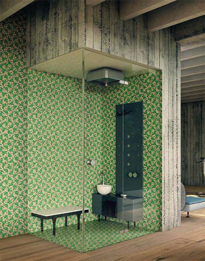 Emejing mosaique salle de bain vert pictures for Carrelage vert salle de bain