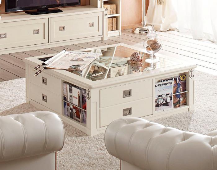 table-basse-avec-tiroir-jolie-table-blanche-avec-tiroirs-et-plateau-en-verre