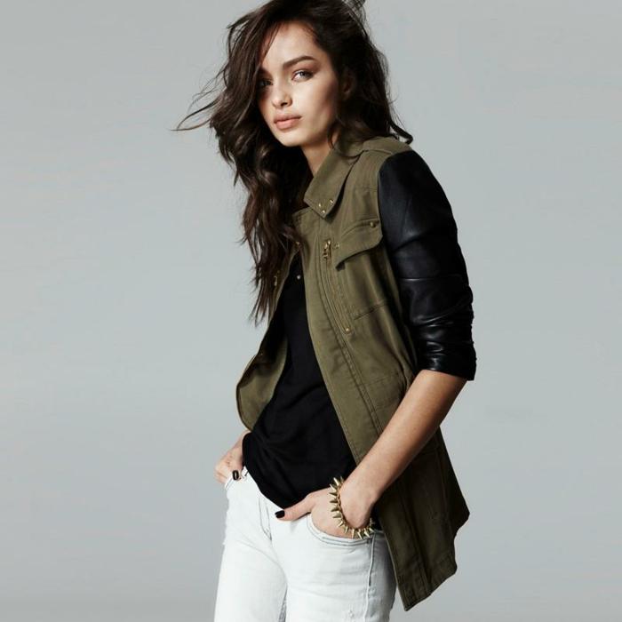 1-canadienne-pour-femme-veste-kaki-vert-militaire-veste-pantalon-jean-blanc