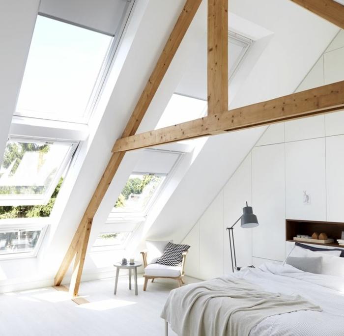 1-chambre-à-coucher-sous-pente-d-esprit-loft-poutre-bois-massif-en-bois-clair