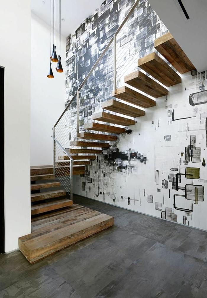 Escalier bois moderne - Escalier droit moderne ...