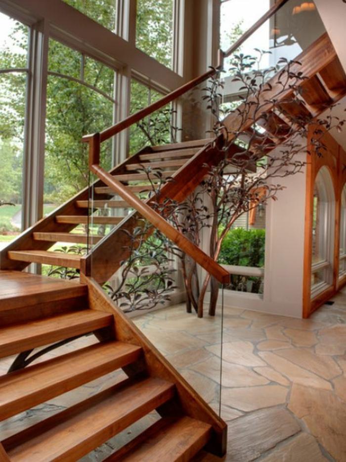 1-fabriquer-un-escalier-en-bois-foncé-pour-le-couloir-moderne-avec-grandes-fenetres