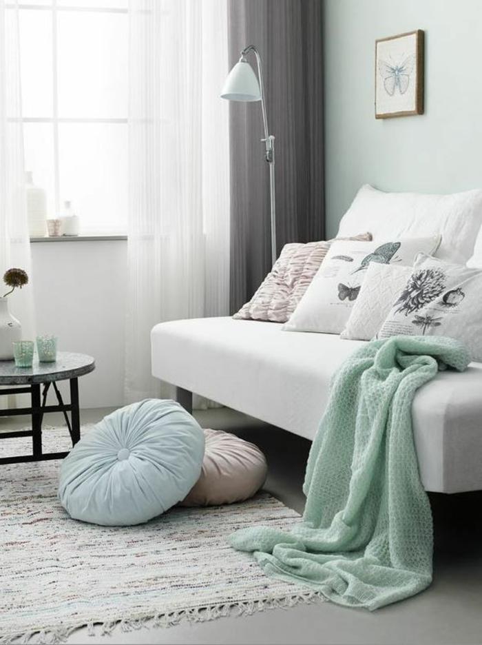 1-jeté-de-canapé-pas-cher-bleu-clair-bleu-ciel-et-canape-gris-avec-joli-tapis-de-salon