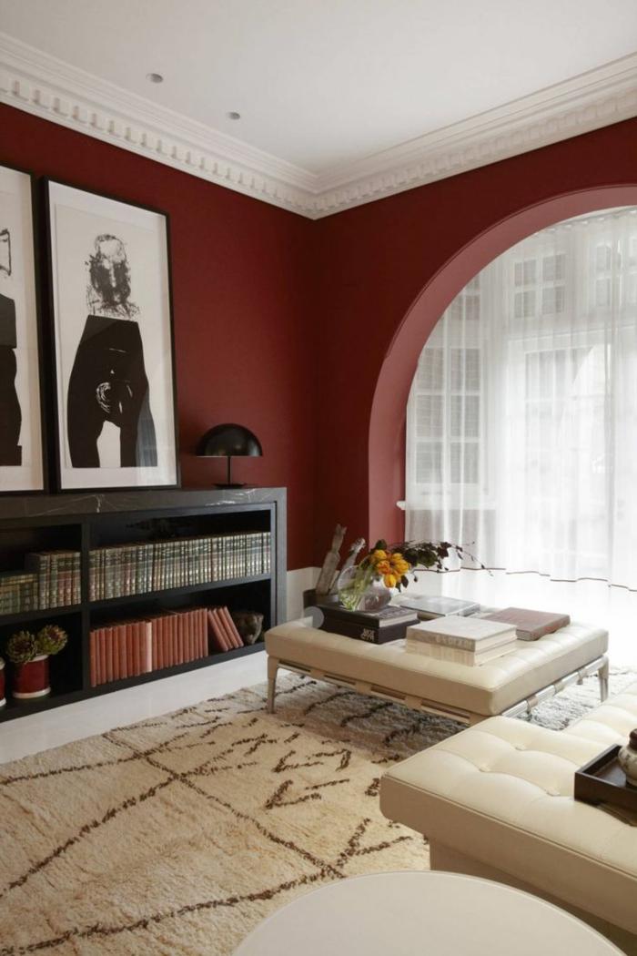 Salon couleur bordeau for Salon a la mode