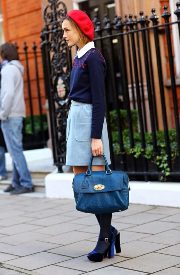 1-jolie-béret-rouge-pour-les-filles-modernes-sac-a-main-en-cuir-bleu-foncé_jupe-gris