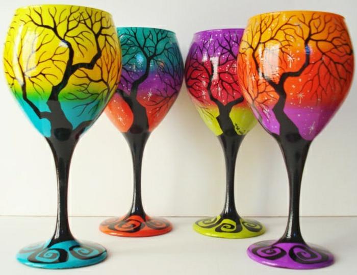 1-jolie-decoration-pour-les-verres-à-vin-colorés-comment-decorer-les-verres-a-vin