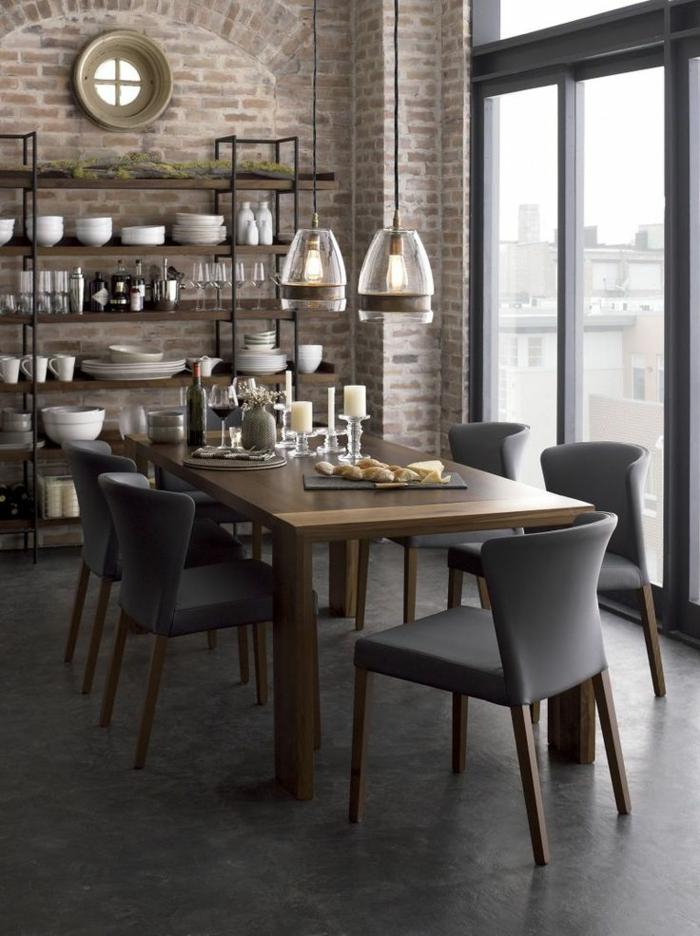 1-jolie-salle-à-manger-contemporaine-avec-chaises-contemporaines-salle-mange-gris-avec-mur-de-briques-et-table-en-bois-massif