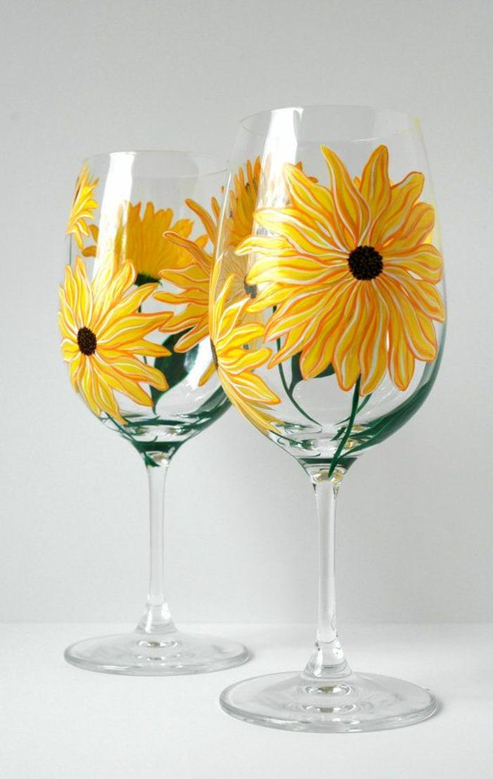 1-la-beaute-de-les-verres-à-vin-design-avec-tournesols-jaunes-une-jolie-verre-a-vin