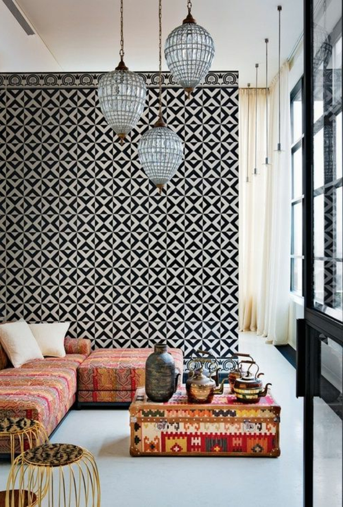 le salon marocain de mille et une nuits en 50 photos. Black Bedroom Furniture Sets. Home Design Ideas
