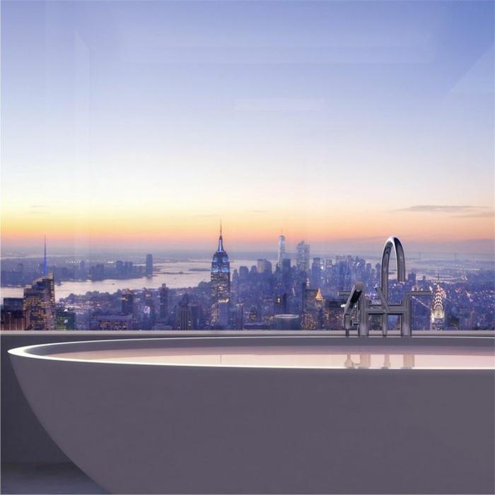 1-magnifique-vue-de-la-salle-de-bain-appartement-loft-432-Park-Avenue-New-York