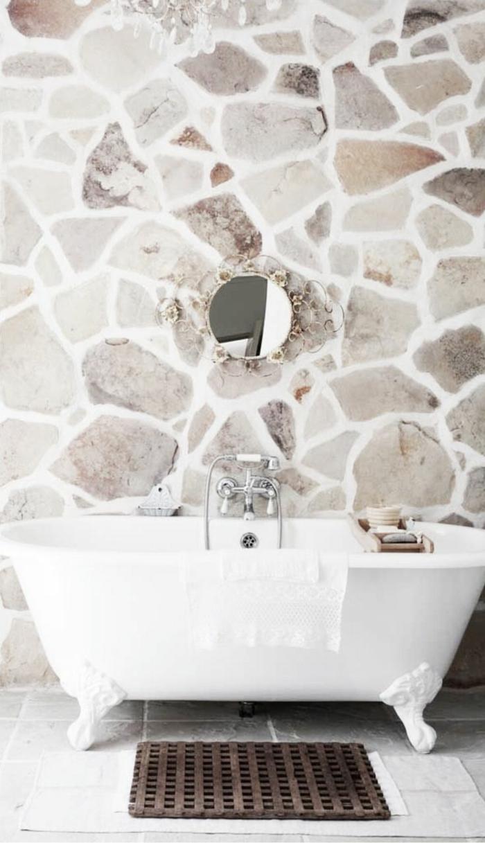 Le mur en pierre apparente en 57 photos - Salle de bain avec mur en pierre ...