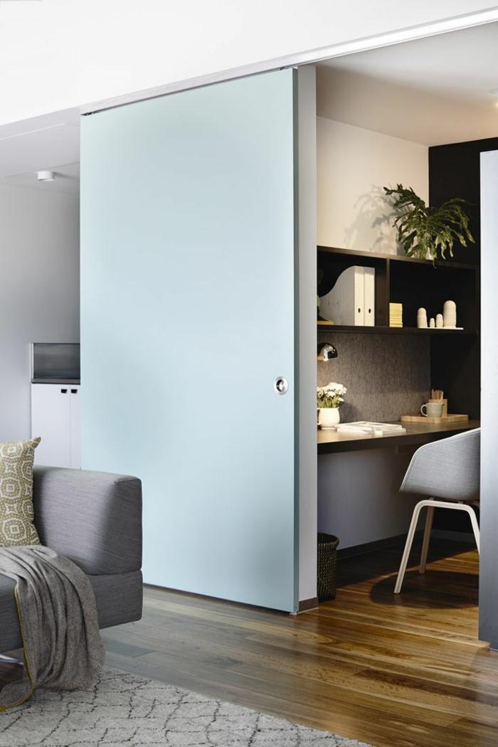 1-portes-à-galandage-jolies-en-bois-de-couleur-bleu-clair-plante-verte-plafond-blanc