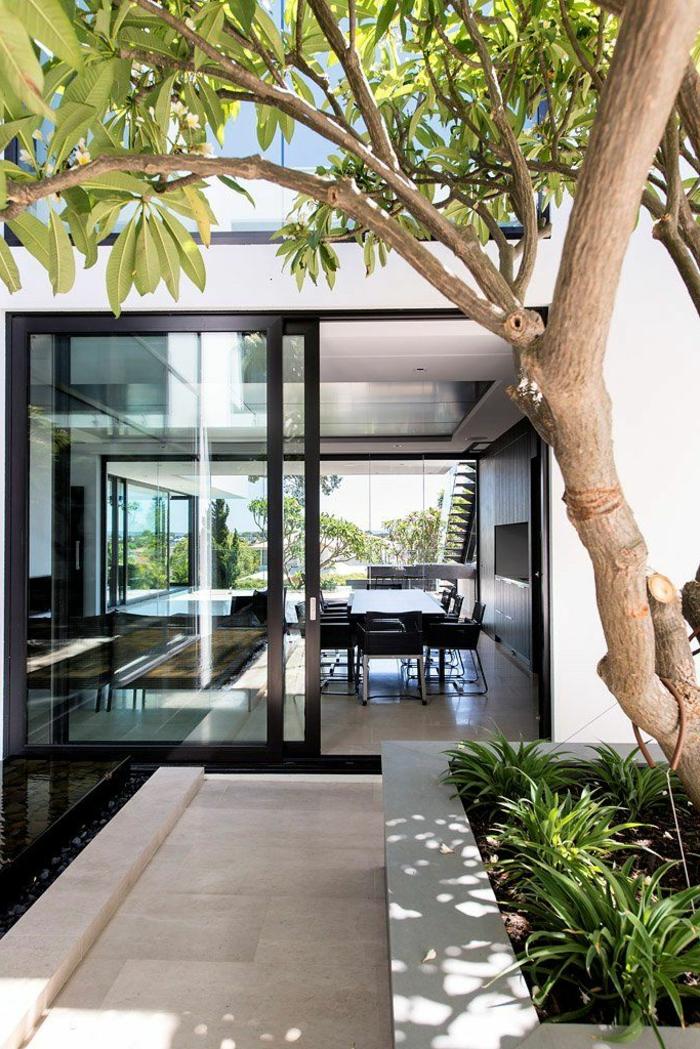 1-portes-à-galandage-vers-le-jardin-arbre-dans-le-jardin-moderne-plantes-vertes-de-jardin